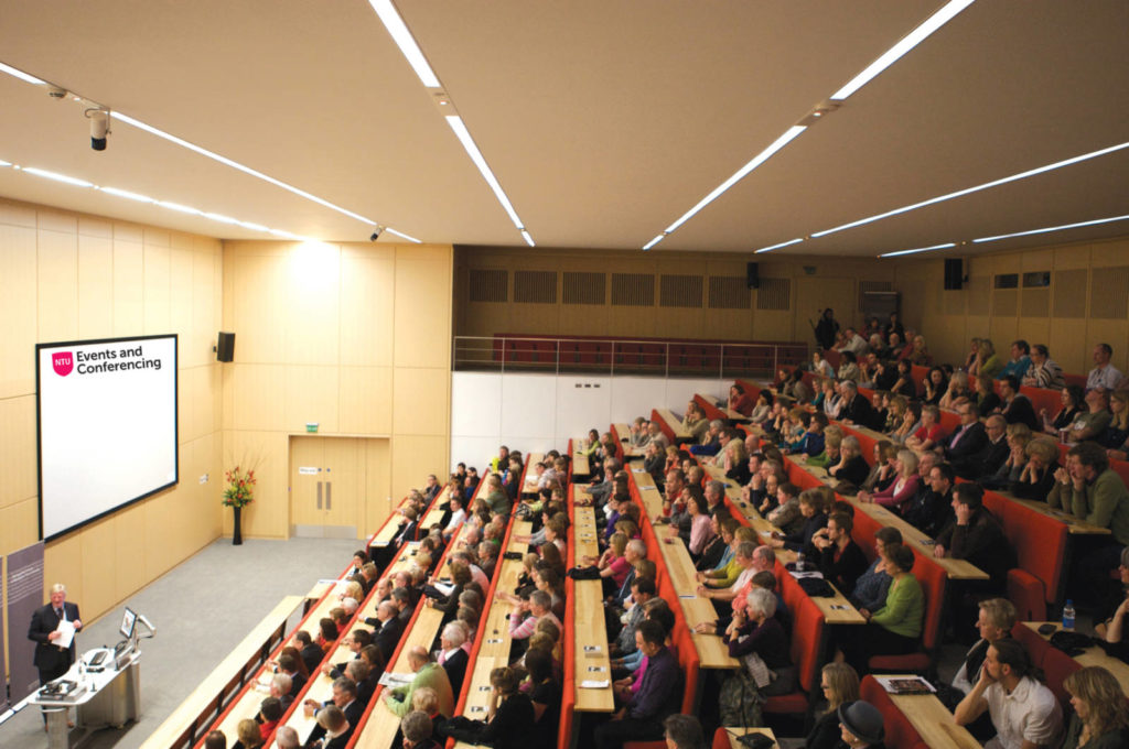 Filled lecture theatre at NTU Events and Conferencing Centre