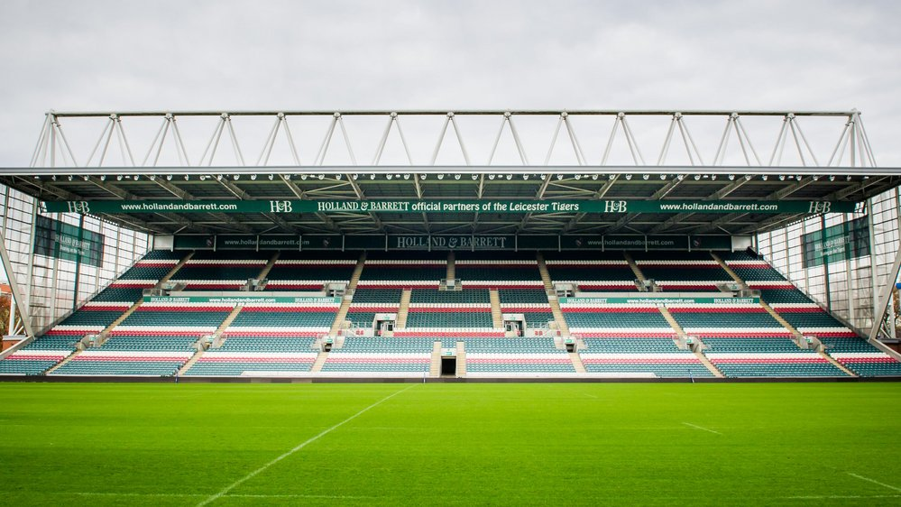 A photo of one of the stands at Welford Road, the stadium of Leicester Tigers