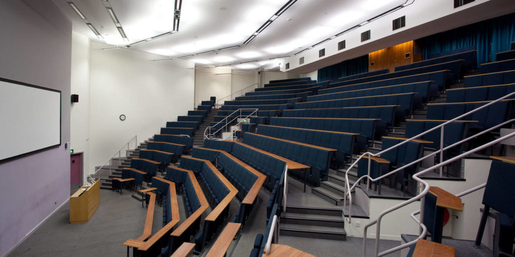 An interior shot of Conference Auditorium, one of the University of Leeds' academic venues