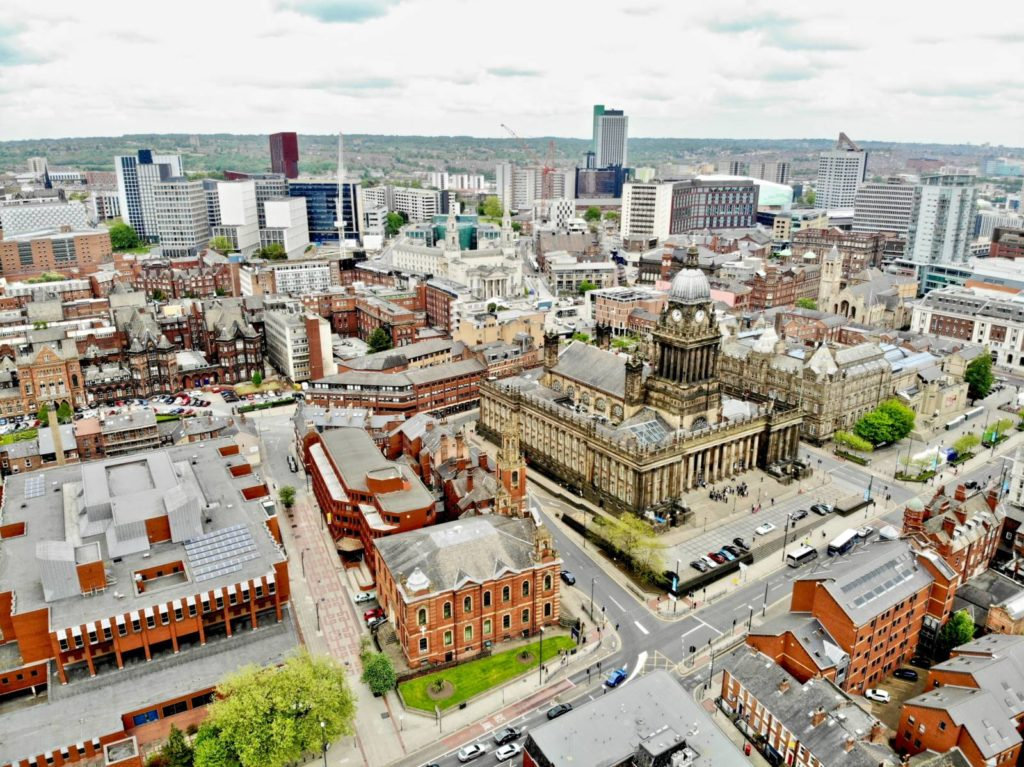A photograph of the Leeds skyline, the city which will host the Unique Venues of Leeds platform