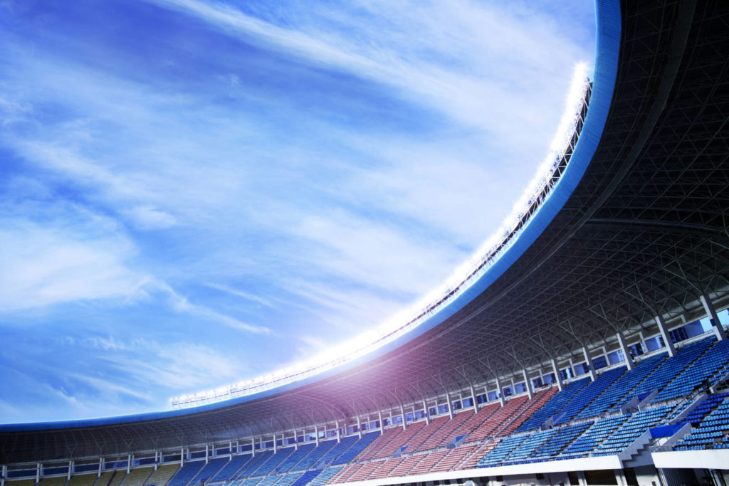 Floodlights at an empty stadium in China