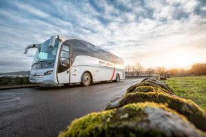 Event Connect coach driving a scenic route